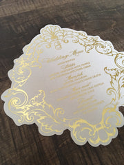Gold Foil Luxury Wedding or Special Event Menu 0319