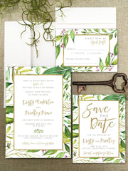 Jungle Leaves Wedding Printed Invitation Suite 1201