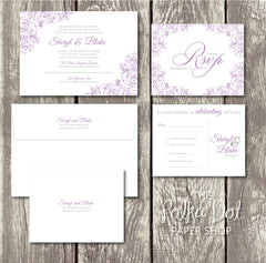 NEW 2018 - Lace Flowers - Floral Printed Wedding Invitation 10247 Lavender and Grey
