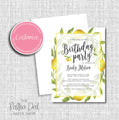 Lemon themed Adult Birthday Party Invitation 54806