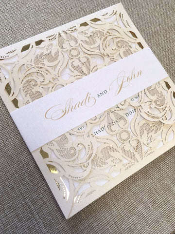 Elegant Gold and White Lotus Fold Laser Cut Wedding Invitation with Belly Band #7102