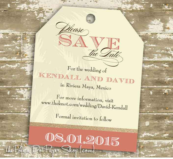Destination Wedding Luggage Tag Save The Date Card 0339