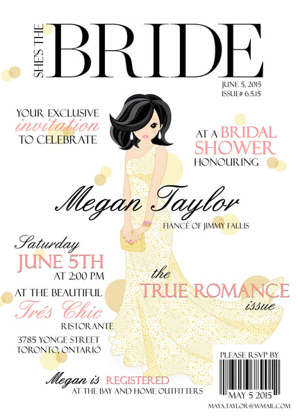 High Fashion Magazine Cover Themed Bridal Shower Invitation 0259