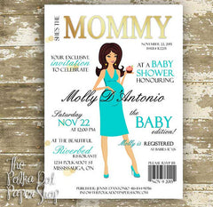 Cute High Fashion Magazine Cover Baby Shower Invitations 0404