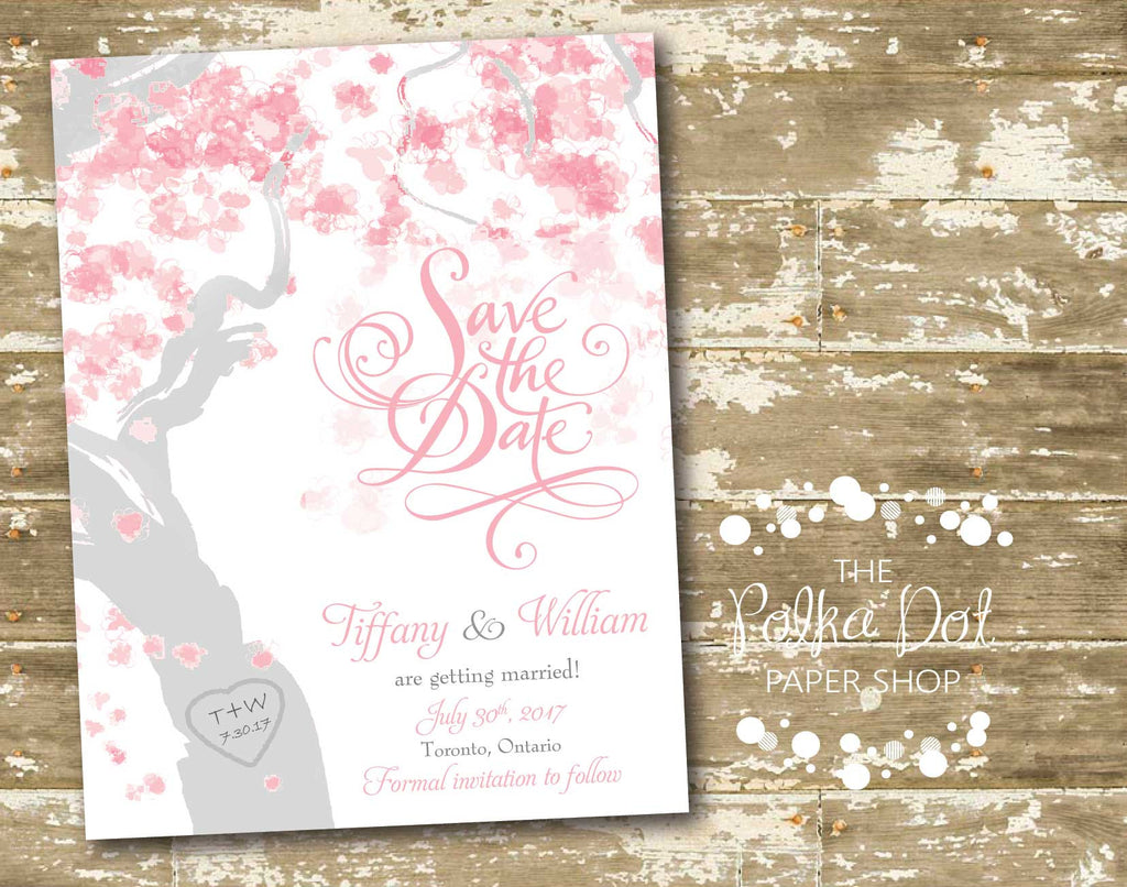Cherry Blossom Tree Spring or Summer Wedding Save the Date 00876 ...