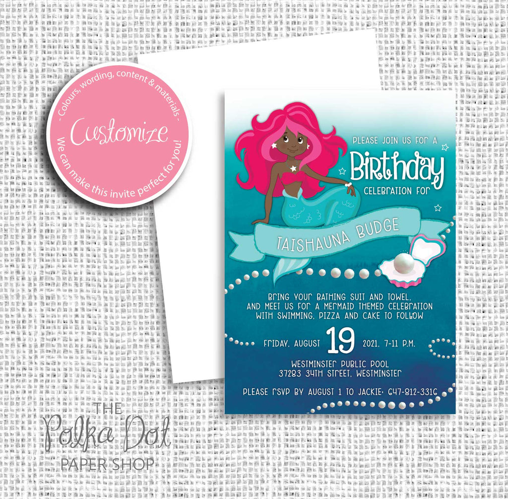 Mermaid Child Birthday Party Invitation 549063 The Polka Dot Paper Shop