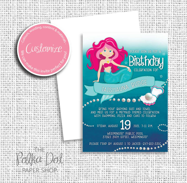 Mermaid Child Birthday Party Invitation 549064