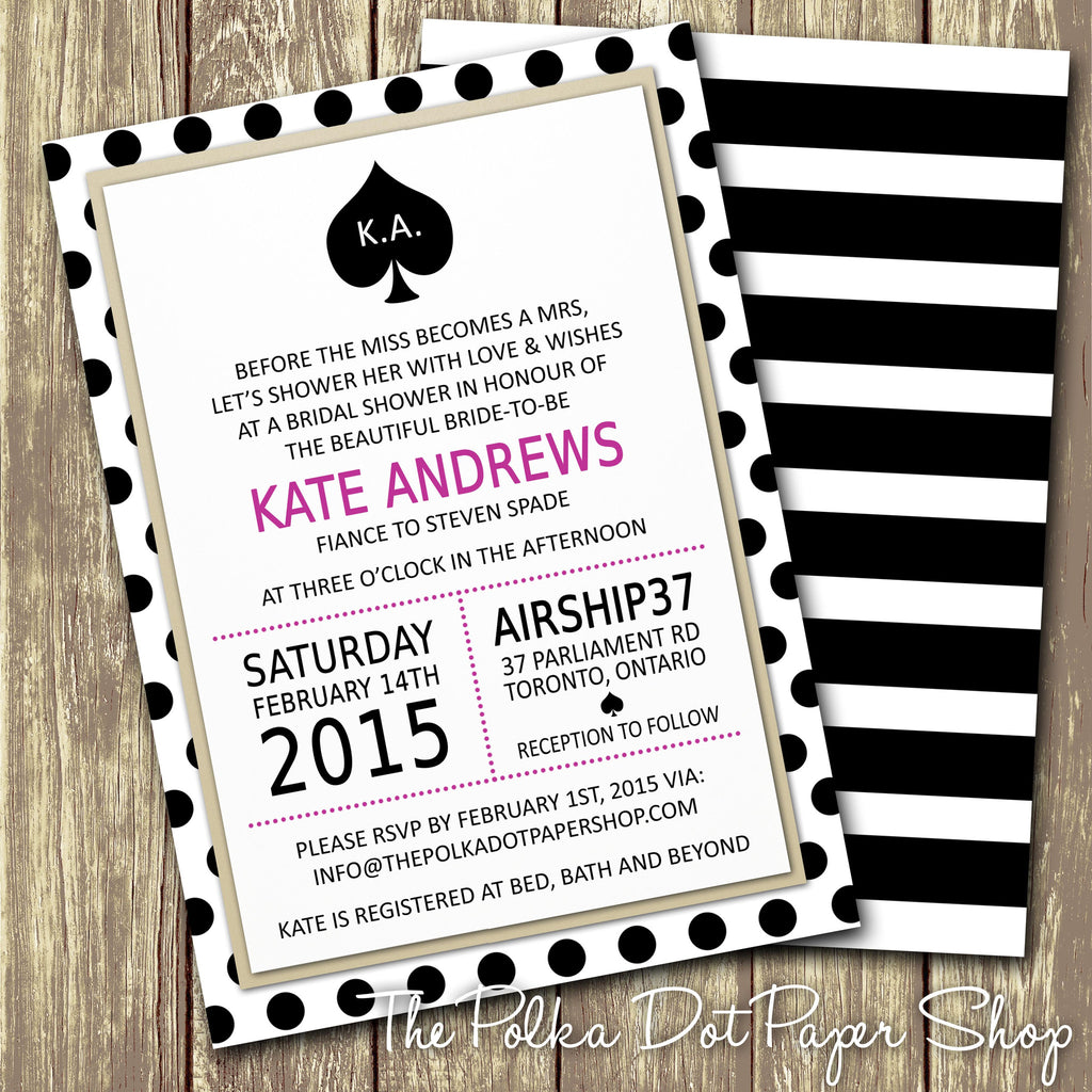 Kate Spade Inspired Bridal Shower or Party Invitation 0271 The
