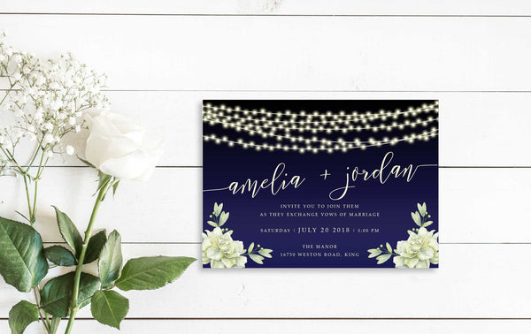 NEW 2019! String Lights Floral Wedding Invitation 54753