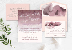 Blush Watercolour Wedding Invitation 40247