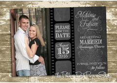 Movie Themed Rustic Style Save The Date Card 0326