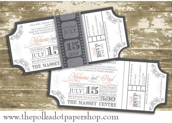 Movie Ticket Wedding Invitation with Film Strip Belly Band ...
