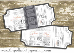 Movie Ticket Themed Flat Invitation with Film Strip Belly Band (Quirky Collection) 0165