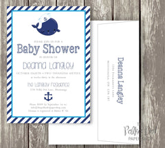 Nautical Whale Baby Shower or Birthday Party Invitation 0415