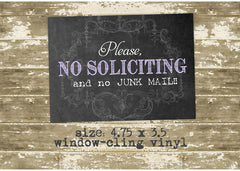 Please No Soliciting and No Junk Mail Window Sticker 0525