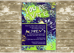 Paint Splatter Birthday Party Invitation 0443