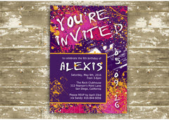 Paint Splatter Birthday Party Invitation 0444