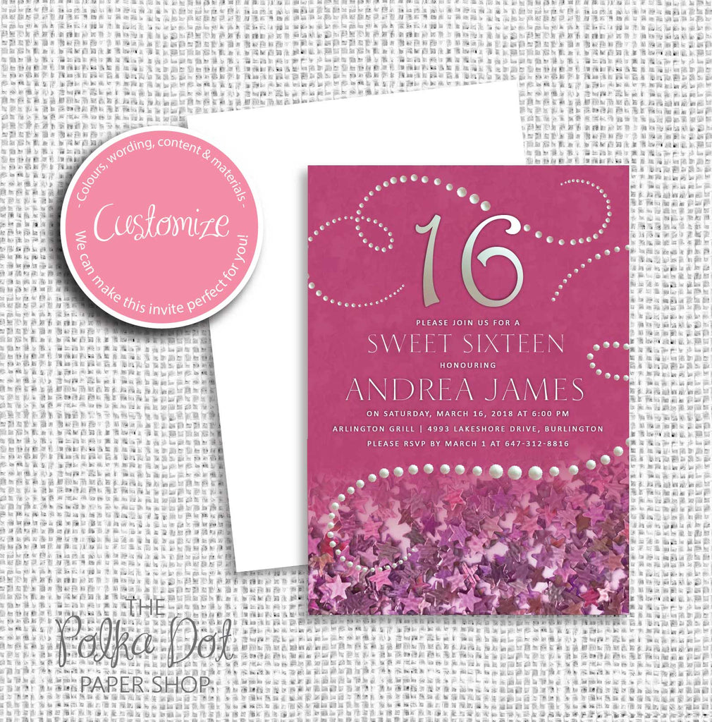Pearl Sweet 16 Birthday Party Invitation 549057 The Polka Dot Paper Shop