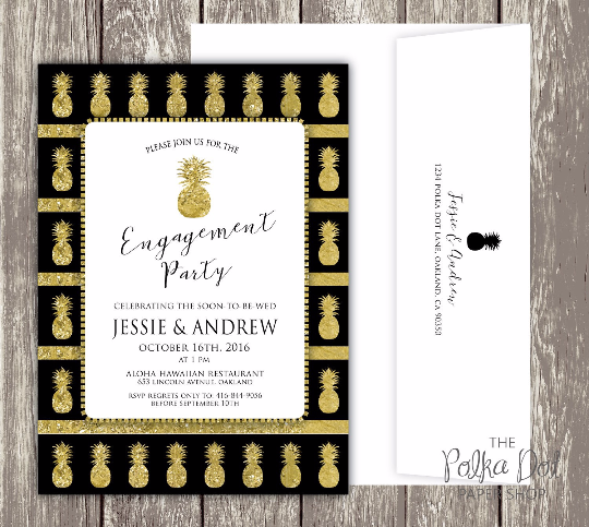 Hawaiian - Pineapple Themed Engagement Party Invitation / Bridal Shower / Birthday Party Invitation 0291