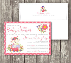 Adorable Pink Baby Fox and Mommy Fox Polka Dot Baby Shower Invitation 0405
