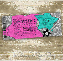 VIP Rockstar Admit One Ticket Birthday Invitation 0452