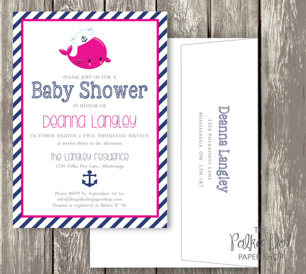 Nautical Whale Baby Shower or Birthday Party Invitation 0416