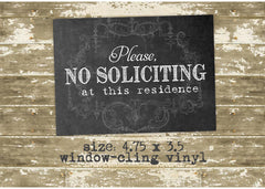 Please No Soliciting Window-Cling Vinyl Sticker 0526