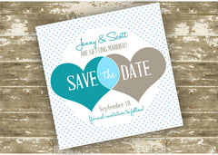 Cute Hearts Save The Date Card 0325