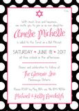 Colourful Polka Dots Bat Mitzvah Invitation 0436