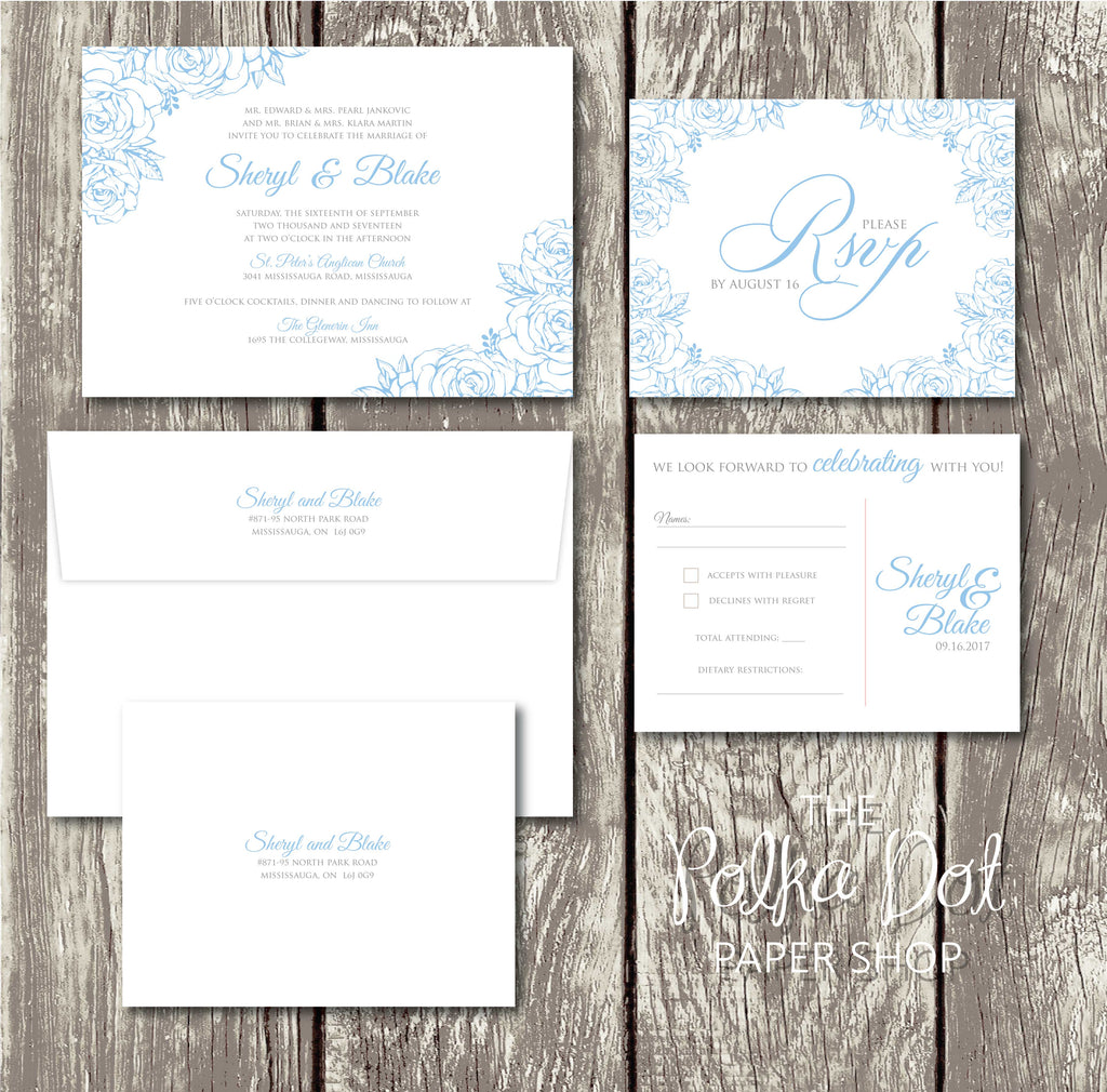 Lace Flowers Wedding Invitation 10247 Powder Blue and Grey – The ...