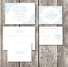 NEW 2018 - Lace Flowers - Floral Printed Wedding Invitation 10247 Powder Blue and Grey