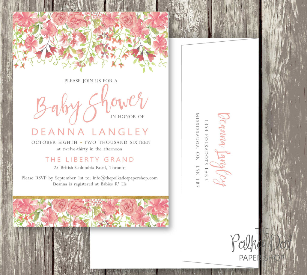 Pretty Peony Watercolor Baby Shower or Bridal Shower Invitation ...