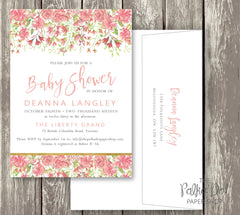 Pretty Peony Watercolor Baby Shower or Bridal Shower Invitation 0289