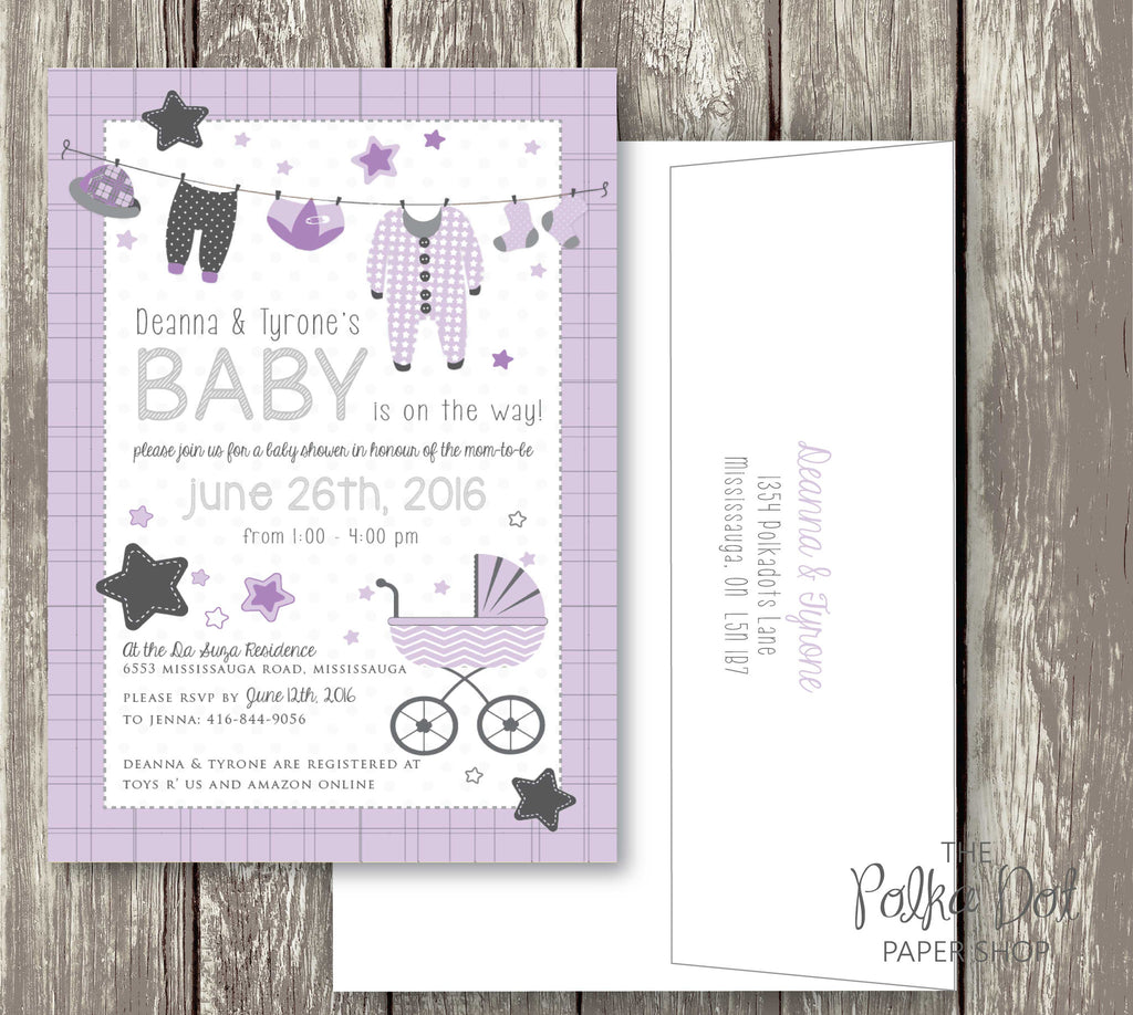 Clothesline Cute Baby Shower Invitations - pink, purple, turquoise ...