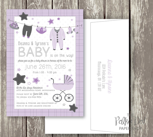 Clothesline Cute Baby Shower Invitations - pink, purple, turquoise and yellow available 0408