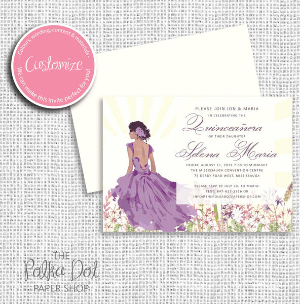 Sunset Beauty Quinceanera Birthday Party Invitation 54900