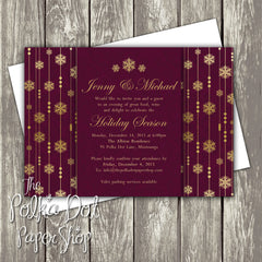 Regal Gold Snowflake Holiday Party Invitation 0465