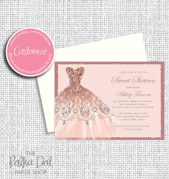 Rose Gold Glitter Dress Sweet 16 Birthday Party Invitation 549058