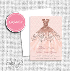 Rose Gold Glitter Dress Quinceanera Birthday Party Invitation 54901