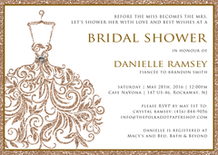 Glitter Rose Gold Wedding Dress Bridal Shower Invitation 0254