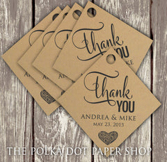 Pack of 50 Rustic Thank You Wedding Favor Tags on Kraft Cardstock 0345