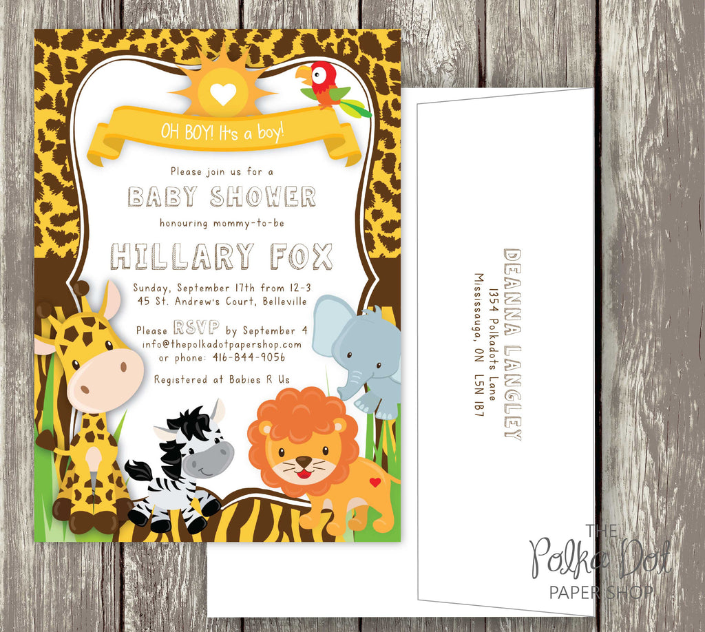 613a52031bc5 Adorable Safari Baby Shower Invitation with Cute Friendly Animals - Fu –  The Polka Dot Paper Shop