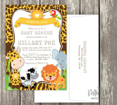 Adorable Safari Baby Shower Invitation with Cute Friendly Animals - Fully Customizable