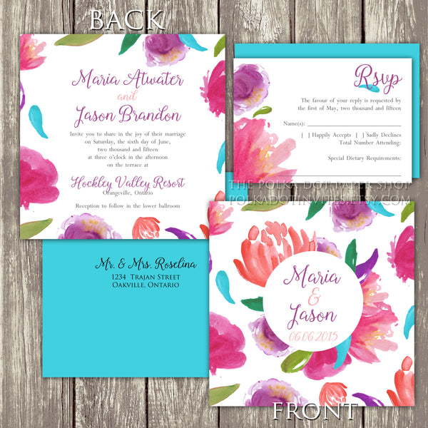 Saffron Watercolour Flower Wedding Invitation 0299