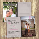 Rustic Postcard Style Save The Date Card 0327
