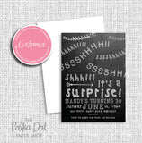 Shhh! Surprise Adult Birthday Party Invitation 54802
