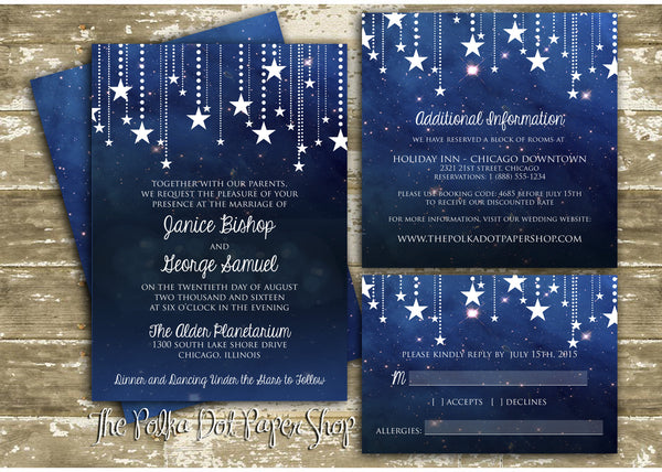 Starry Starry Night Printed Invitation 0219 The Polka