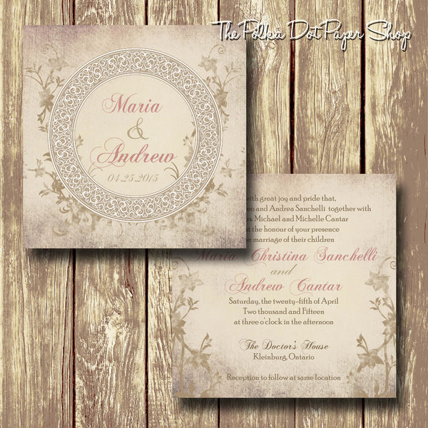 Soft Shabby Chic Romance Printed Invitation 0228