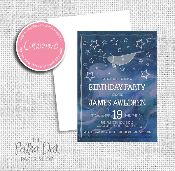 Space Narwhal Child Birthday Party Invitation 549062