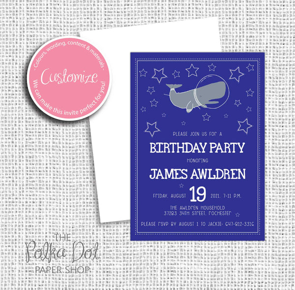 Space Whale Child Birthday Party Invitation 549060